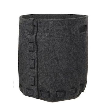 Panier en feutrine gris foncé et corde D36xH38cm