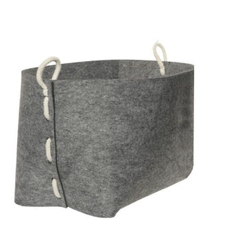 Panier en feutrine gris clair et corde 26x26x30cm