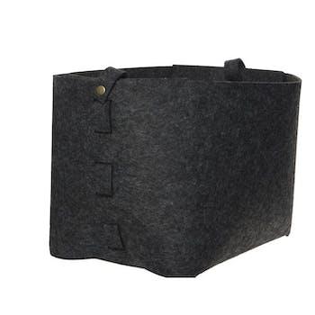 Panier en feutrine gris foncé et corde 26x26x30cm