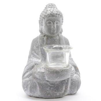 Bouddha photophore en Terre cuite gris blanchi 14x12x20cm