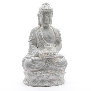 Bouddha photophore en Terre cuite gris blanchi 25x17x45cm