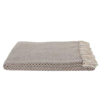 Plaid / Jeté de canapé en coton beige et écru à motifs aspect tissé avec franges 130x170cm