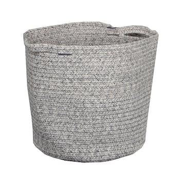 Panier lombock rond en coton aspect tissé chiné tons gris clairs à poignées D36xH34cm
