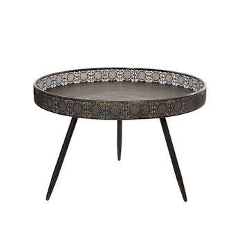Bout de canapé métal couleur bronze motifs ajourés grand modèle