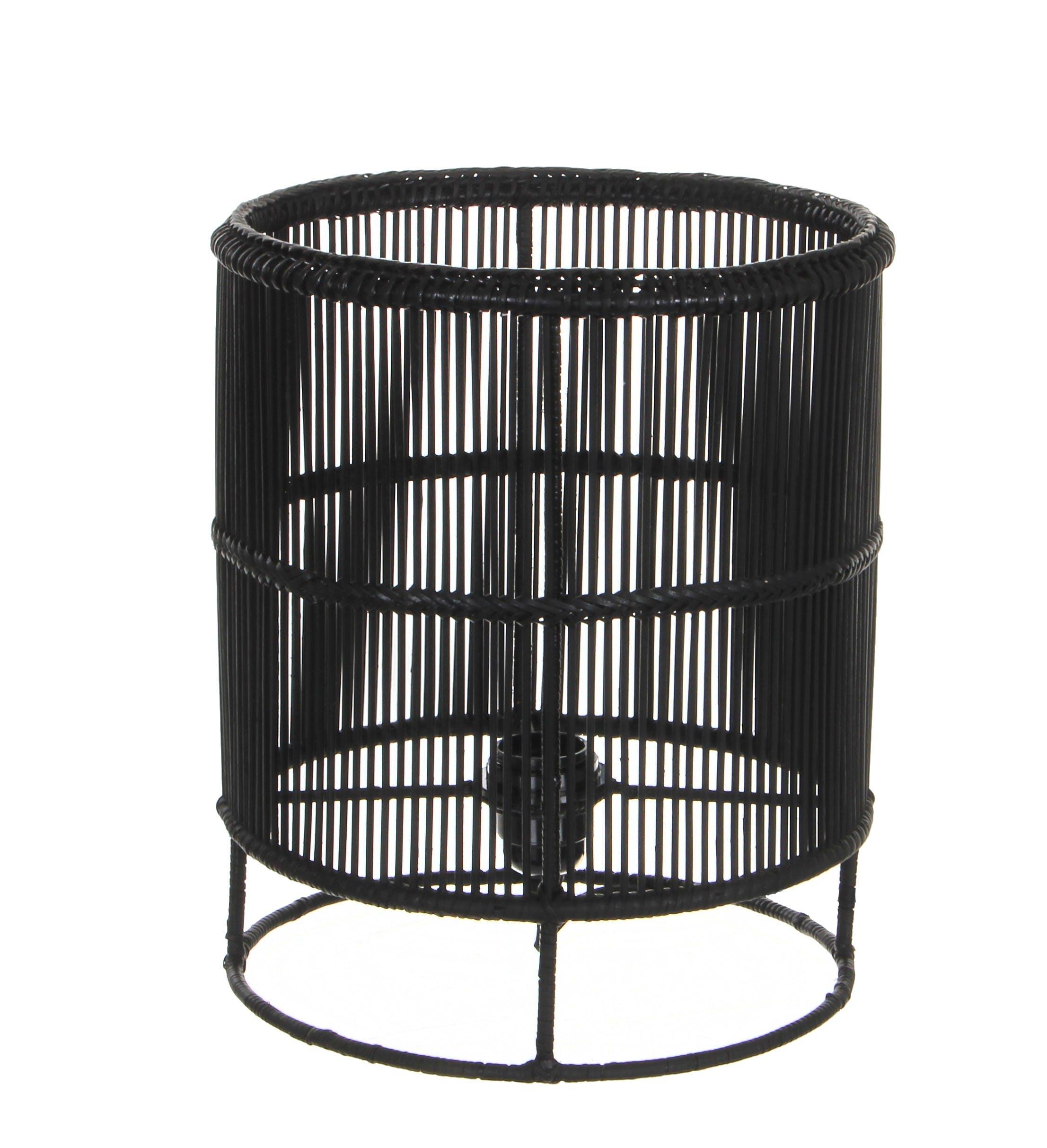 Lampe Cylindre en métal filaire ajouré noir D25xH30cm