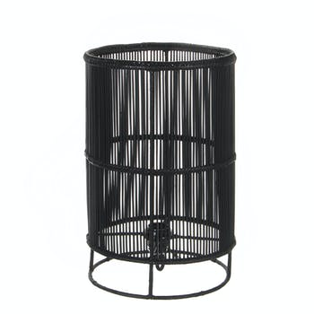 Lampe Cylindre en métal filaire ajouré noir D25xH40cm