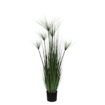 Papyrus vert artificiel en pot PVC noir D17xH127cm