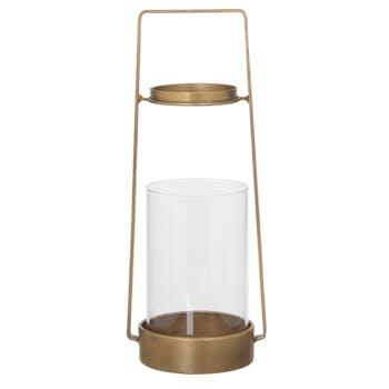 Lanterne / Photophore en métal doré et verre D12xH30cm