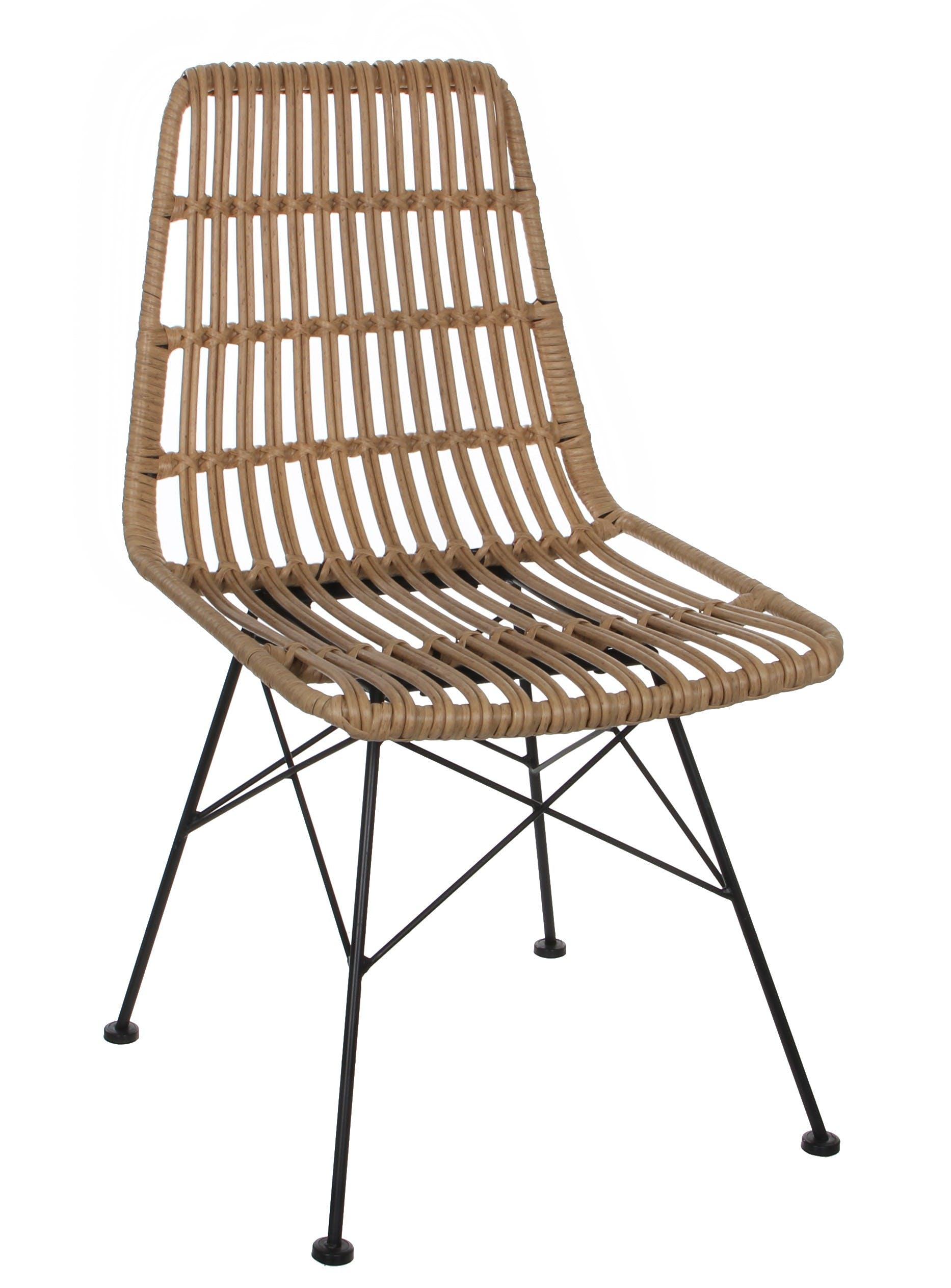 Chaise de Jardin style rotin ajouré couleur naturelle et pieds métal 47x56x85cm