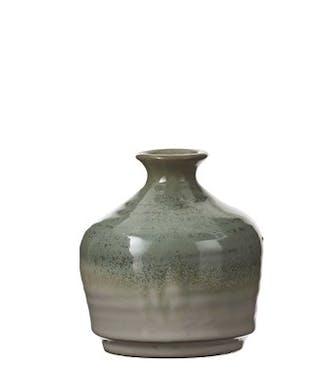 Vase col étroit en céramique tons vert et beige D10xH11cm
