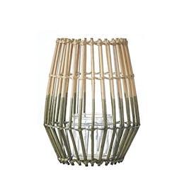 Lanterne / Photophore forme Trapèze en osier ajouré bi-tons naturel et vert D23xH28cm