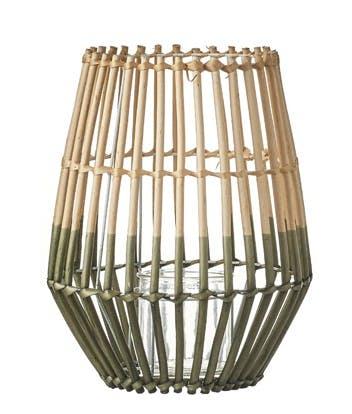 Lanterne / Photophore forme Trapèze en osier ajouré bi-tons naturel et vert D27xH34cm