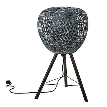 Lampe forme Pomme en bambou ajouré tons gris bleuté et pieds métal D33xH59cm