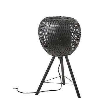 Lampe forme Pomme en bambou ajouré noir et pieds métal D33xH59cm