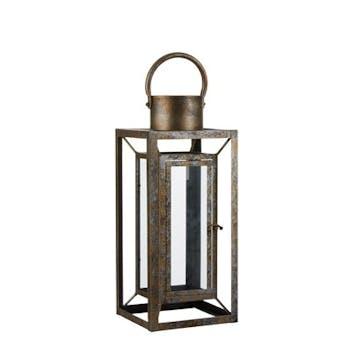 Lanterne en métal doré aspect viellit 18x18x43cm