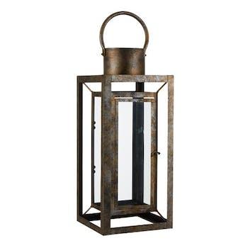 Lanterne en métal doré aspect viellit 22x22x53cm