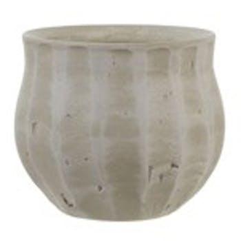 Cache-Pot forme boule col évasé en terre cuite ton blanc cassé D18xH15cm