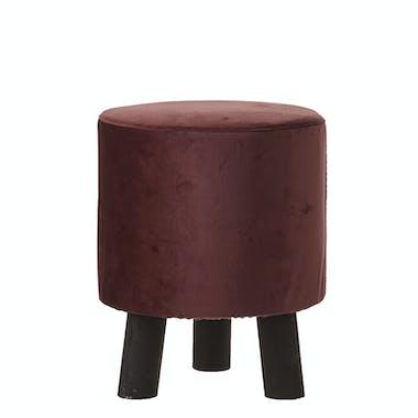 Tabouret bas rond assise violet et pied bois noir H36xD30cm