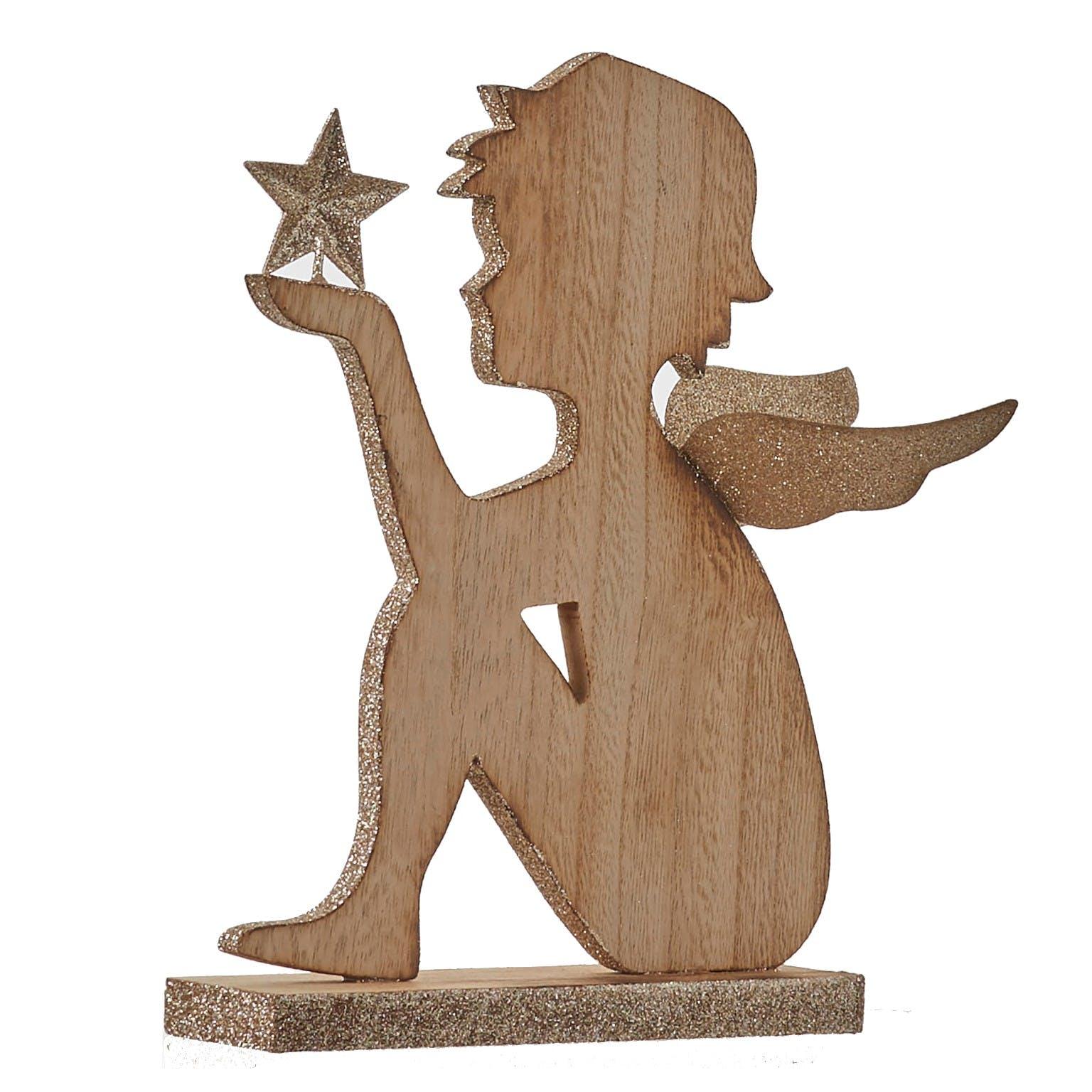 Figurine en bois Ange 21x18x4cm