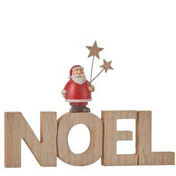 """Mot à poser en bois """"NOEL"""" décor Père Noël 21x16cm"""