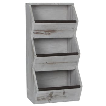 Petit meuble de rangement bois blanchi 50 cm
