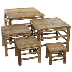Lot de 5 tables gigognes en bambou