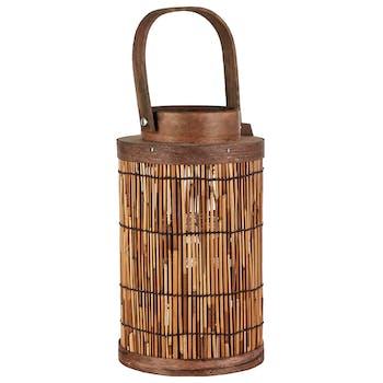 Lanterne marron naturelle à anse 16 cm