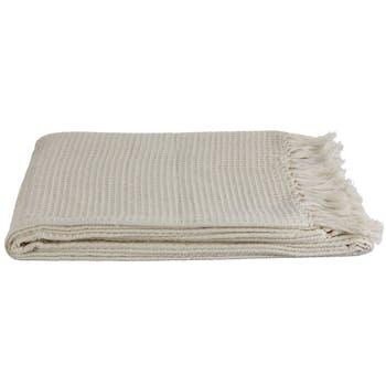 Plaid blanc à franges 170 x 130 cm