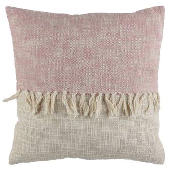 Coussin ligne à franges rose beige 45 x 45 cm