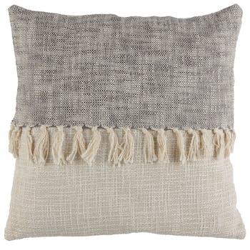 Coussin ligne à franges gris beige 45 x 45 cm