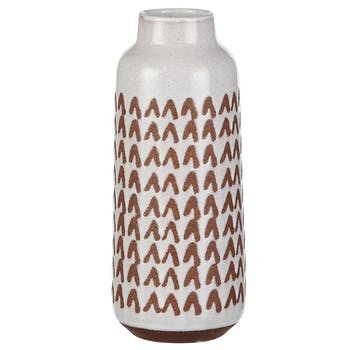 Vase décoration aztek blanc marron 23,5 cm