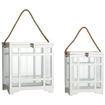 Lot de 2 lanternes vitrine blanches