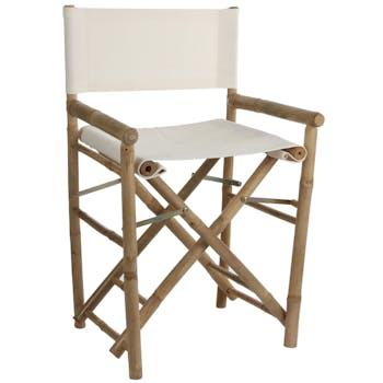 Fauteuil chaise façon cinéma bambou tissu écru