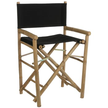 Fauteuil chaise façon cinéma bambou tissu noir