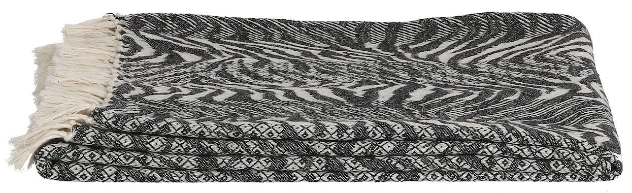 Plaid zébré à franges 130 x 170 cm