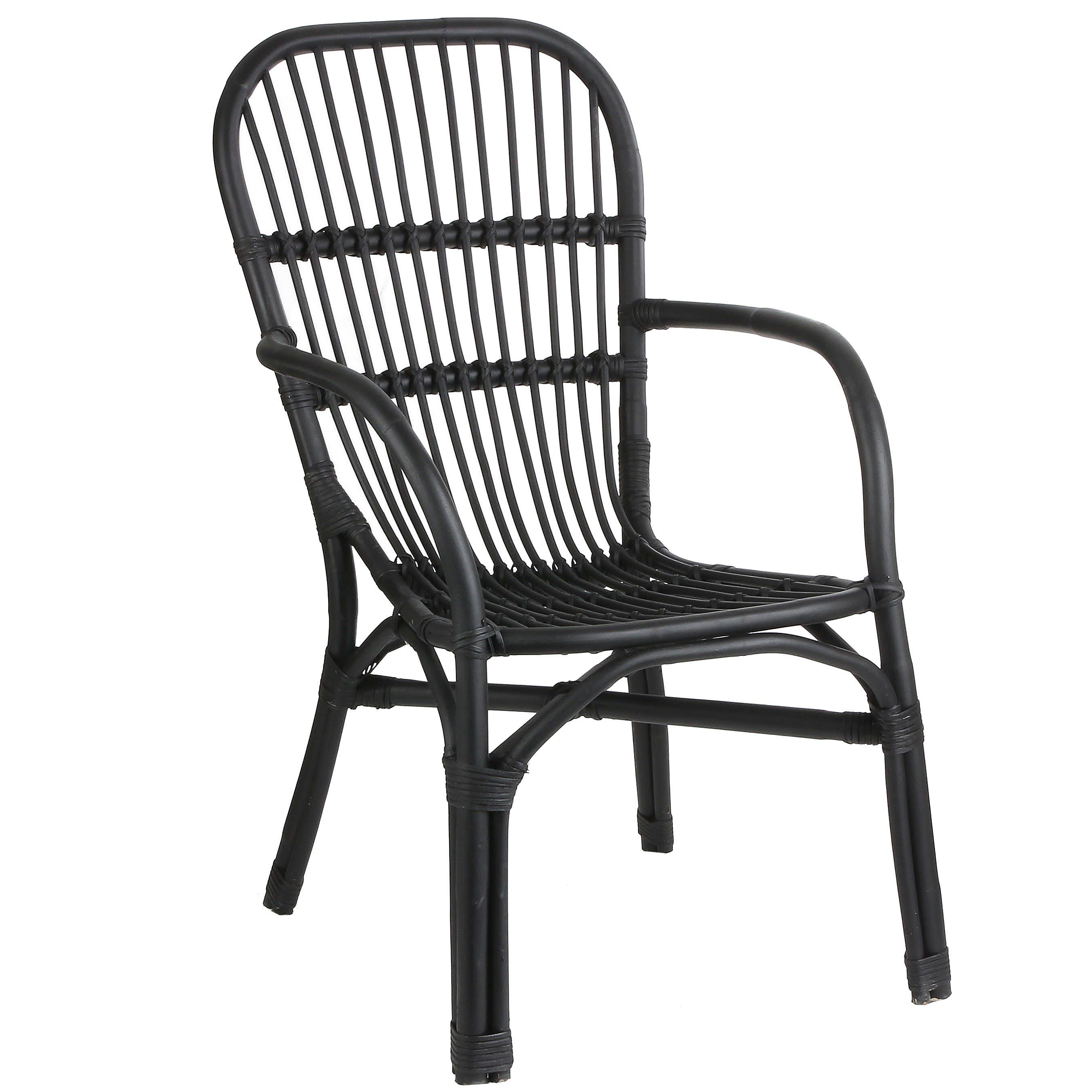 Chaise fauteuil en rotin noir