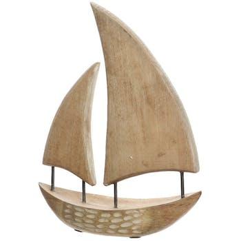 Voilier en bois de mangue blanchi H44cm
