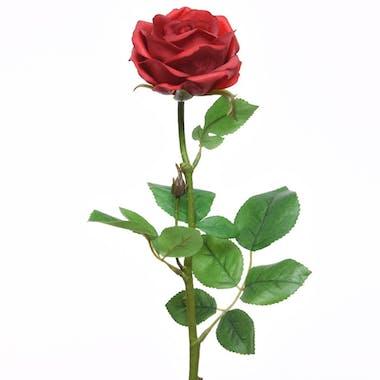 Rose rouge en soie sur tige 66cm