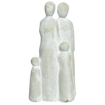 Statuette en ciment famille avec 2 enfants H20cm