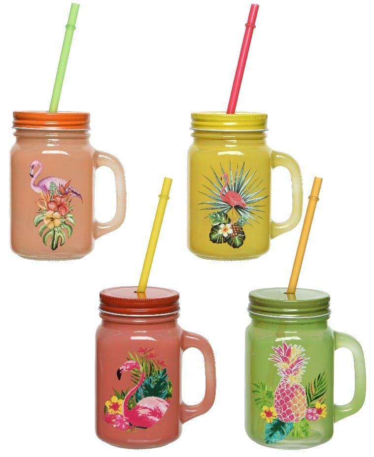 Set de 4 choppes tropicales à pailles multicolores