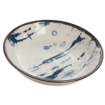 Coupelle en porcelaine blanche et bleue 8cm