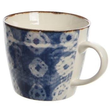 Mug avec coupelle porcelaine bleue losange