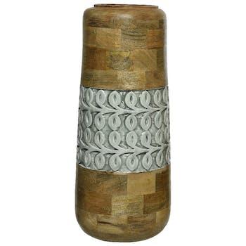 Vase en bois de mangue et émail gris-vert H45cm