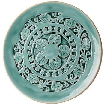 Plat en bois sculpté bleu turquoise D40cm