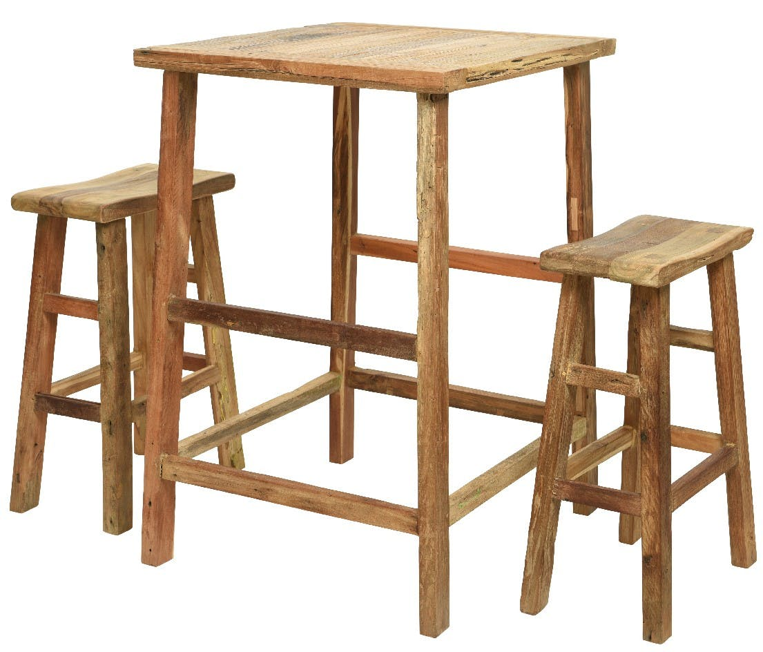 Mange-debout et 2 tabourets de bar bois recyclé OMSK