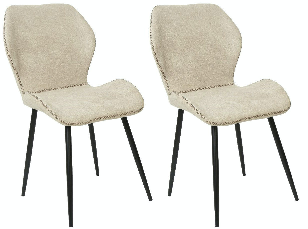 Lot de 2 Chaises surpiqûre gris