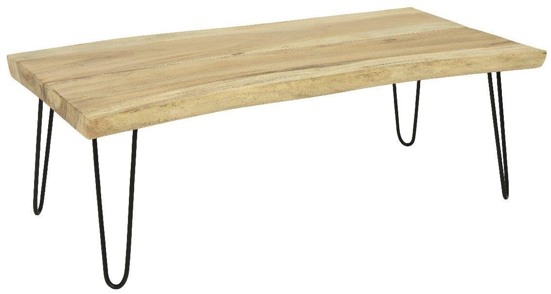 Table basse bois massif naturel 120 cm HAWAI