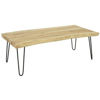 Table basse bois massif naturel 120 cm HAWAI