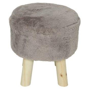 Pouf tabouret tissu parme gris façon fourrure