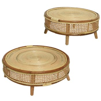 Tables gigognes rondes en rotin et manguier (lot de 2)